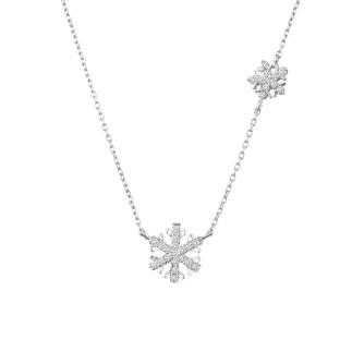 İkili Kar Tanesi Gümüş Kolye - Thumbnail