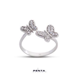 Penta Silver - İkili Kelebek Ayarlı Gümüş Yüzük
