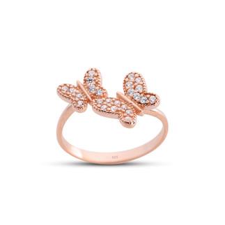 İkili Kelebek Ayarlı Gümüş Yüzük - Thumbnail