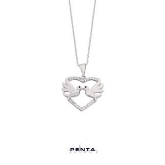 Penta Silver - İkimiz İçin Kalpli Gümüş Kolye