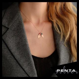 Penta Silver - İkimiz Mineli Terlik Gümüş Kolye (1)