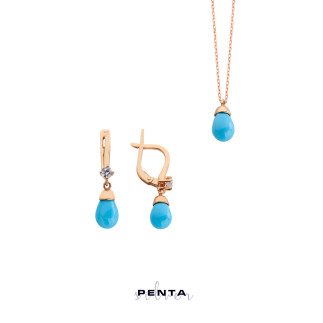 Penta Silver - İnci Drop Gümüş Takı Seti