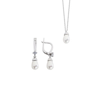 İnci Drop Gümüş Takı Seti - Thumbnail