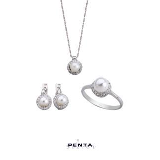 Penta Silver - İncili Anturaj Gümüş Takı Seti (1)