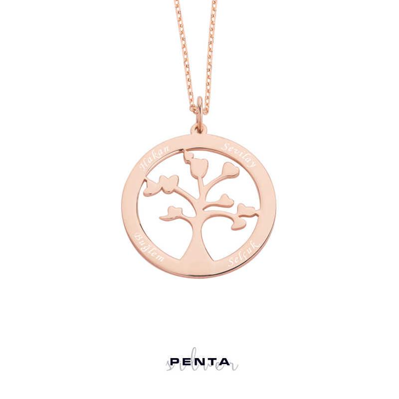 İsimli Hayat Ağacı Gümüş Kolye