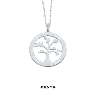 Penta Silver - İsimli Hayat Ağacı Gümüş Kolye (1)