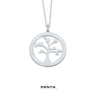 Penta Silver - İsimli Hayat Ağacı Gümüş Kolye