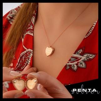 Penta Silver - İsimli Kapaklı Kalpli Gümüş Kolye (1)