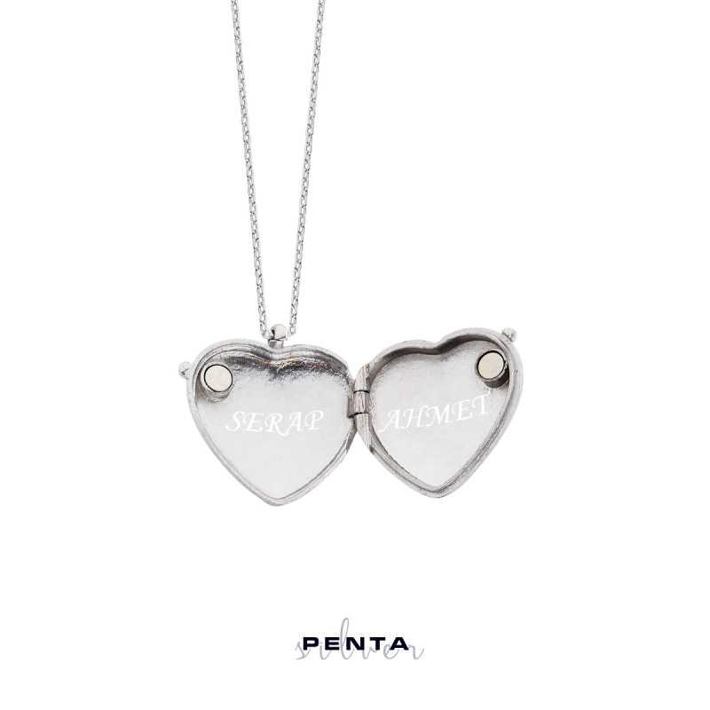 İsimli Kapaklı Kalpli Gümüş Kolye