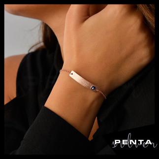 Penta Silver - İsimli Levha Asansörlü Gümüş Bileklik