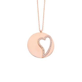 İsimli Levha Taşlı Kalpli Gümüş Kolye - Thumbnail