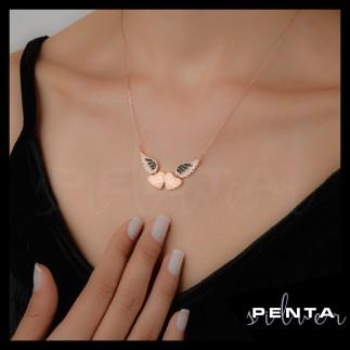 Penta Silver - İsimli Melek Kanadı Çift Kalpli Gümüş Kolye