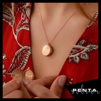 Penta Silver - İsimli Mıknatıslı Çerçeve Gümüş Kolye (1)