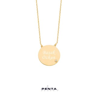 Penta Silver - İsimli Taşlı Yuvarlak Levha Gümüş Kolye