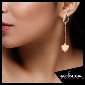 Penta Silver - Kalbimdeki Sır Sallantılı Çift Gümüş Küpe
