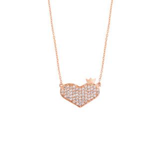 Kalbimin Baş Tacı Gümüş Kolye - Thumbnail