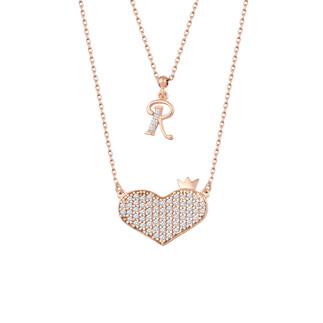 Kalbimin Baş Tacı Harfli Gümüş Kolye Çift Zincirli - Thumbnail