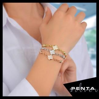 Penta Silver - Kalın Zincirli Yonca Gümüş Bileklik