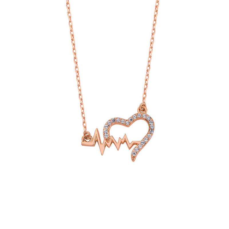 Kalp Figürlü Ritim Gümüş Kolye