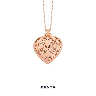Penta Silver - Kalp Gümüş Kolye Tektaş Yüzüklü