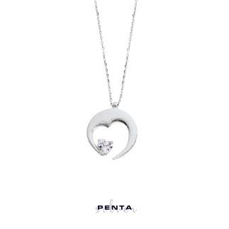 Penta Silver - Kalp Kalbe Gümüş Kolye