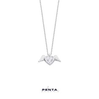 Penta Silver - Kalp Motif Melek Kanadı Gümüş Kolye