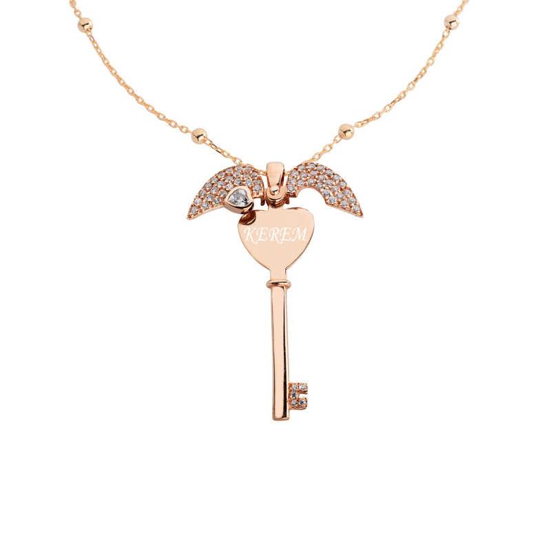 Kalp Motifli İsimli Anahtar Gümüş Kolye