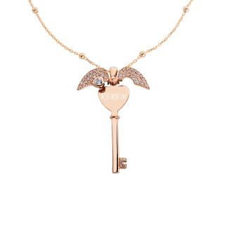 Kalp Motifli İsimli Anahtar Gümüş Kolye - Thumbnail