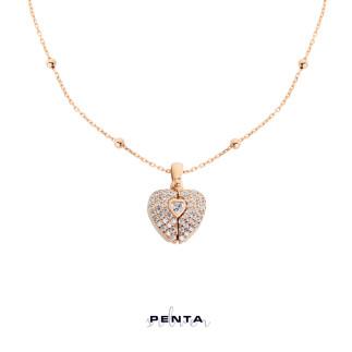 Penta Silver - Kalp Motifli İsimli Gümüş Kolye