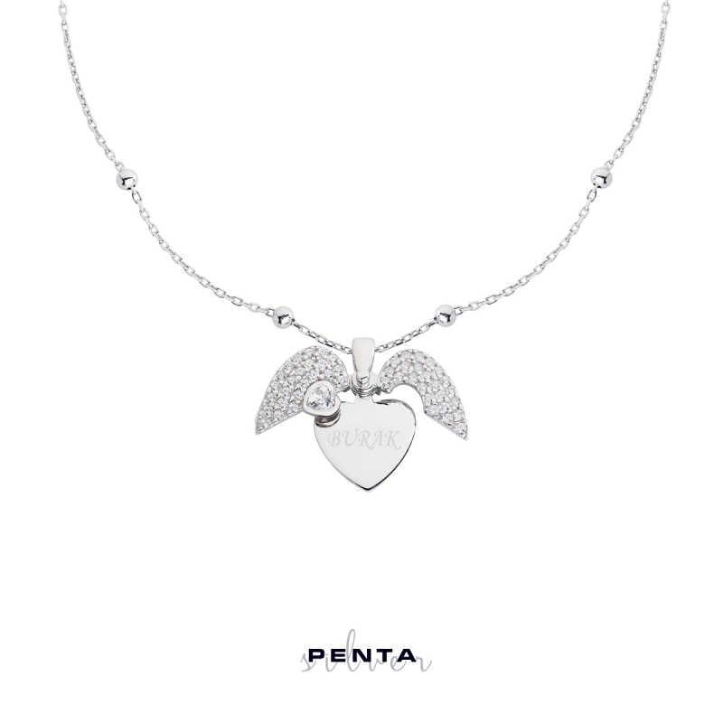 Kalp Motifli İsimli Gümüş Kolye