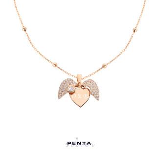 Kalp Motifli İsimli Gümüş Kolye - Thumbnail