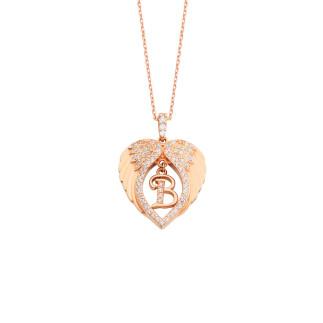 Kalp Motifli Melek Kanadı Harfli Gümüş Kolye - Thumbnail