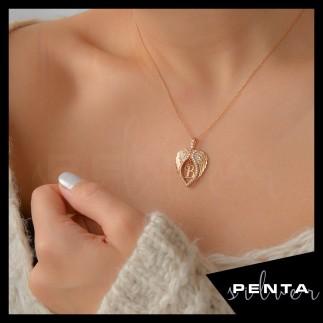 Penta Silver - Kalp Motifli Melek Kanadı Harfli Gümüş Kolye