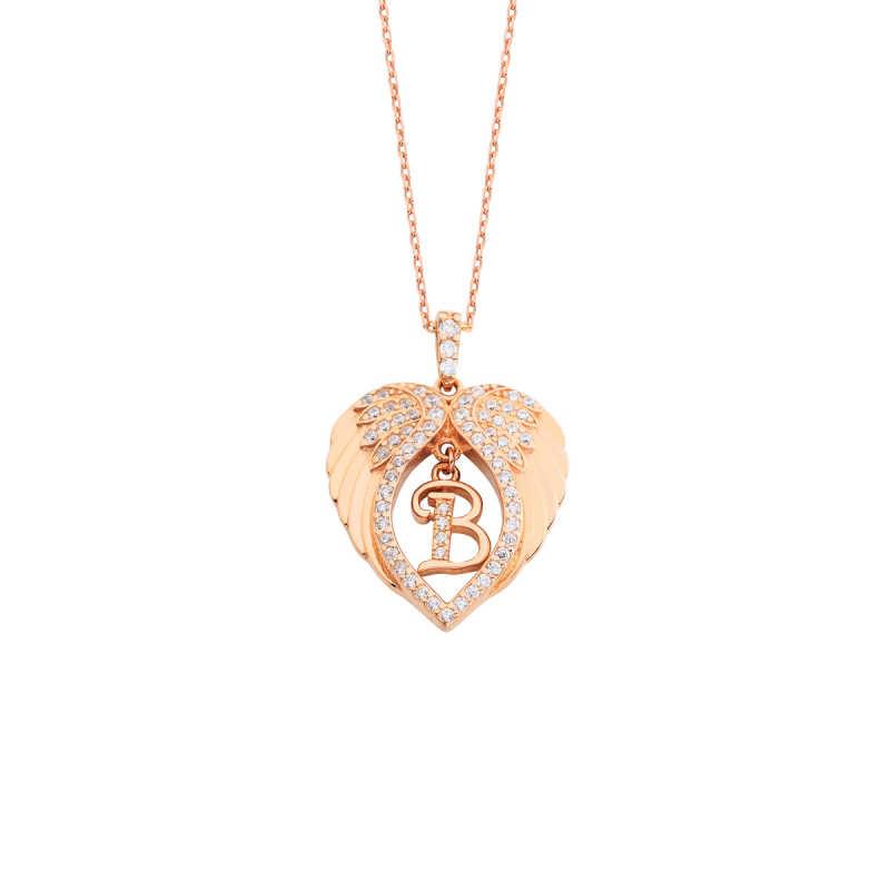 Kalp Motifli Melek Kanadı Harfli Gümüş Kolye