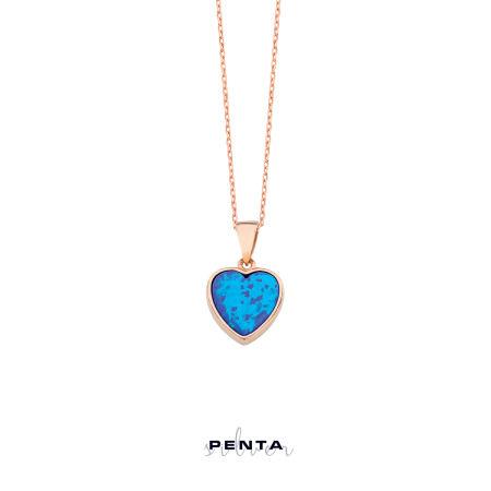 Kalp Motifli Opal Gümüş Kolye