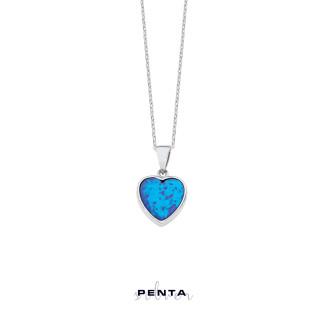 Penta Silver - Kalp Motifli Opal Gümüş Kolye (1)
