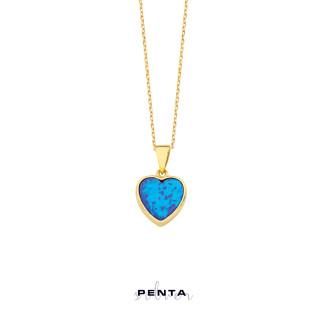Kalp Motifli Opal Gümüş Kolye - Thumbnail