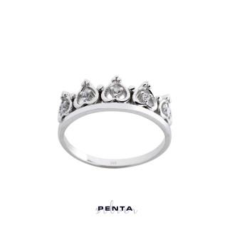 Penta Silver - Kalp Motifli Prenses Tacı Gümüş Yüzük