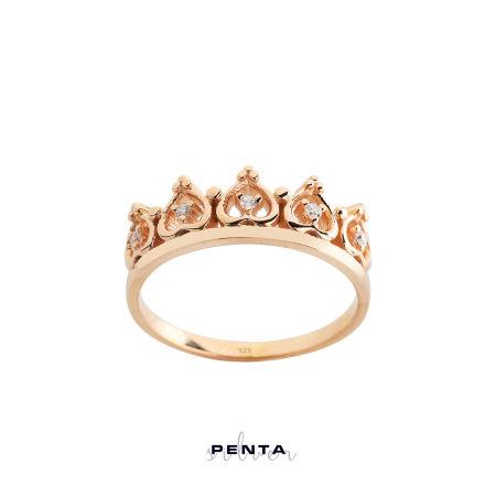 Kalp Motifli Prenses Tacı Gümüş Yüzük
