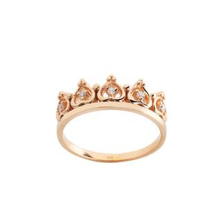 Kalp Motifli Prenses Tacı Gümüş Yüzük - Thumbnail