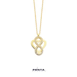 Penta Silver - Kalp Motifli Zirkon Taşlı Sonsuzluk Gümüş Kolye