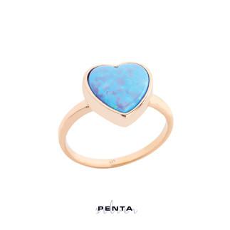 Kalp Opal Taşlı Gümüş Yüzük - Thumbnail