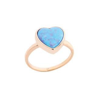 Penta Silver - Kalp Opal Taşlı Gümüş Yüzük
