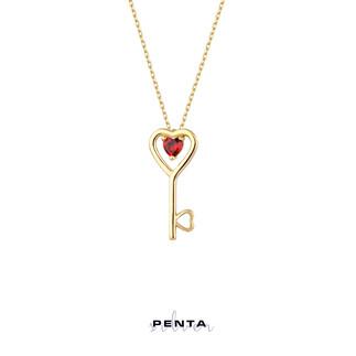 Kalp Taşlı Anahtar Gümüş Kolye - Thumbnail