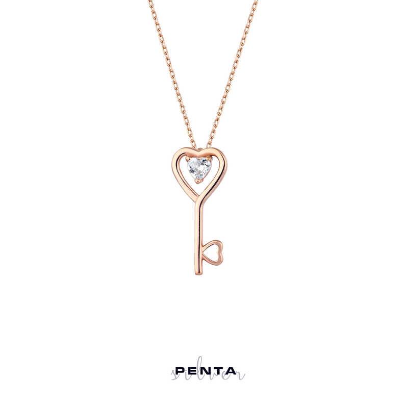 Kalp Taşlı Anahtar Gümüş Kolye