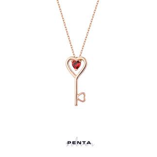 Penta Silver - Kalp Taşlı Anahtar Gümüş Kolye (1)