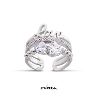 Penta Silver - Kalp Taşlı Ayarlı Love Gümüş Yüzük