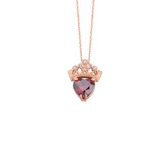 Kalp Taşlı Taç Gümüş Kolye - Thumbnail