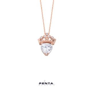 Penta Silver - Kalp Taşlı Taç Gümüş Kolye