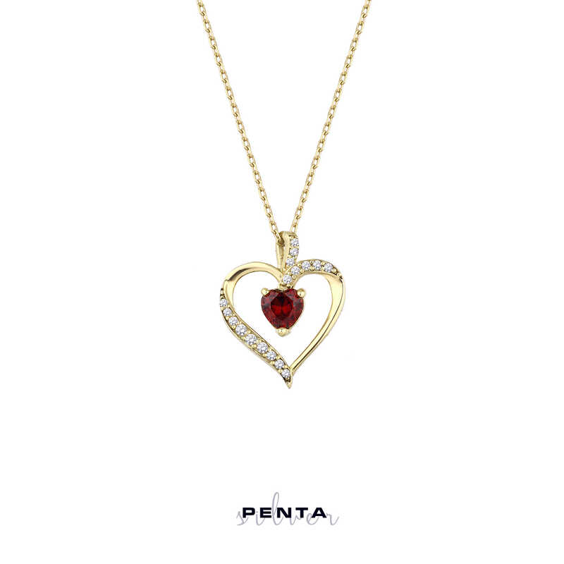 Kalp Taşlı Zarif Kalpli Gümüş Kolye